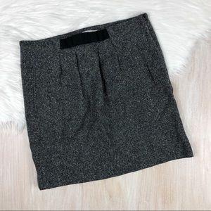 LOFT Wool Silk Blend Pleated Salt Pepper Skirt